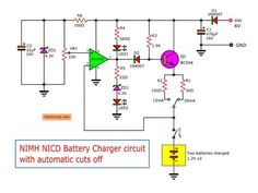 Automatic nimh Nicd battery charger circuit that automatic cuts off. This project is good ways, Use OP-AMP IC. Detect battery voltage when power is full. Nimh Battery Charger, Battery Charger Circuit, Automatic Battery Charger, Hobby Electronics, Electronics Basics, Electronics Projects, Power Supply Design, Toroidal Transformer, Simple