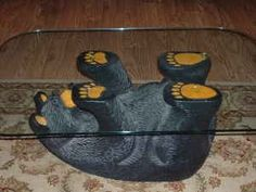 Black Bear Sculpture Coffee Table
