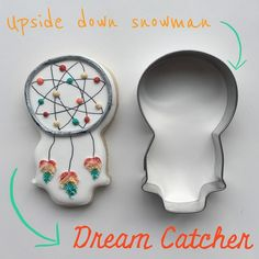 Upside down snowman makes the perfect Dream Catcher! I got the snowman out to make Gumball machines and couldn't see anything but these! #thedoughmestichousewife #doughmestichousewife #decoratedcookies