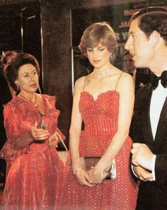 """June 24, 1981: Prince Charles and fiancé, Lady Diana Spencer with Princess Margaret at the West End Royal Premiere of the latest James Bond film, """"For Your Eyes Only""""."""