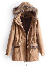 Khaki Removable Fur Hooded Long Sleeve Drawstring Coat 0.00 #SheInside