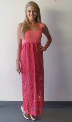 Coral Lace Bottom Maxi Dress