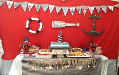 Nautical, Red, Dark Blue & Light Blue Baby Shower Baby Shower Party Ideas | Photo 4 of 19
