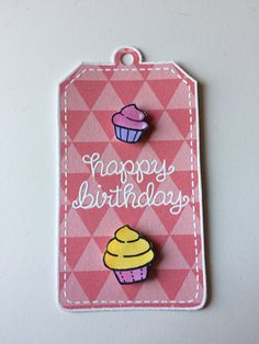 Birthday tag using lawn fawn birthday tags and baked with love stamp set, and ranger white embossing powder