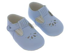 Soft pre-walker first pram shoes for babies, blue matt with teardrops and ovals.