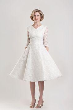 Tobi Hannah Tea Length Wedding Dress--if i went short, it would be something like this
