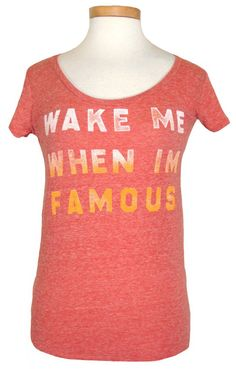 Lucky Brand Womens Shirt Top WAKE ME WHEN I'M FAMOUS Scoopneck Tee Red Sz XS NEW #LuckyBrand #BasicTee