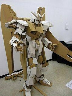 Gundam made of cardboard, via Flickr.