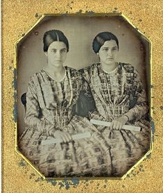 Expectation and hope: two proud young women with their diplomas...1840s.