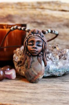 Jasper Warrior Woman Necklace. Handcrafted Clay. by TRaewynJewelry