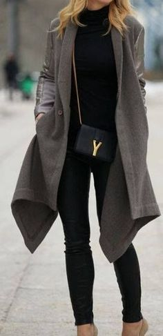 Extra long drapped coat with leather leggings and a YSL crossbody! If you like my pins, please follow me and subscribe to my fashion channel on youtube! It's free! Let me help u find all the things that u love from Pinterest! https://www.youtube.com/channel/UCCP8TXebOqQ_n_ouQfAfuXw