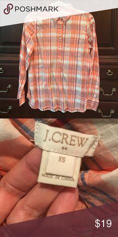 NWOT- JCrew 1/2 button down cotton shirt Never worn JCrew 1/2 button shirt! I bought too many last fall and never wore it! J. Crew Tops Button Down Shirts