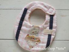 ネクタイ風スタイ4 ピンクチェック Handmade goods for baby&kid`s Handmade shop *tutu* 【生地】 表 Wガーゼ 中 タオル 裏 Wガーゼ