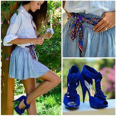 H&M Denim Skater Skirt, Steve Madden Blue Sandals NEW ON MY BLOG: www.pinkcloudland.com
