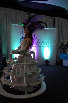 Our unique Cupcake Skirt 1m high x 1.4m in diameter, a distinctive way to serve starters or dessert at your next event. While our beautiful hostesses are themed to your requirements and interact with guests.  Client to provide items to be placed on skirt, can roam around on smooth surfaces.