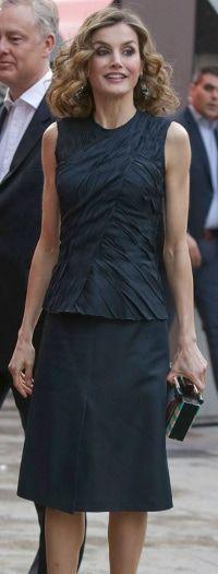 During Famelab 2016, Doña Letizia Queen Letizia premiered a petrol blue ensemble from Nina Ricci's pre-fall 2016 collection.