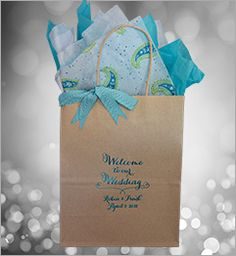 #welcomebagsforweddings -This elegant calligraphy style looks incredible printed in turquoise satin foil on an oatmeal bag. The presentation is Top Notch. Since you can't greet your hotel guests with a brass band, this is the next best thing. Welcome to Philadelphia, PA! See more by visiting www.favorsyoukeep.com or call us at 512.323.0600