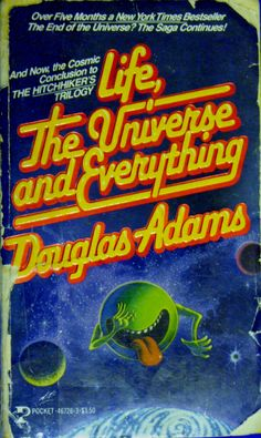 Currently reading, Douglas Adams' Life, the Universe and Everything. Love him! Douglas Adams, Love Him, My Love, Rest In Peace, Book Covers, Everything, My Books, Literature, Sci Fi