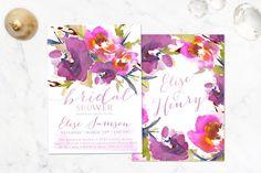 Garden Watercolor Floral Bridal Shower Invitation, Purple & Pink watercolor flowers invite spring or summer shower - Printed or Digital