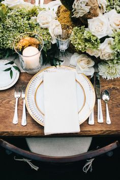 Rustic meets awesome in this tablescape. Photography: Docuvitae - docuvitae.com, Floral Design: Brad Austin - bradaustin.com  Read More: http://www.stylemepretty.com/california-weddings/2014/05/16/elegant-bel-air-estate-wedding/