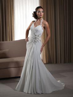 Trumpet/Mermaid Sleeveless Halter Court Train Chiffon Ruched Wedding Dresses