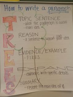 Writing Anchor Chart- how to write a paragraph