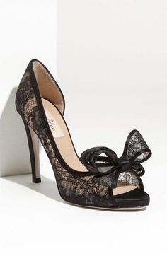 Classy Valentino lace d'Orsay peep toe pump with bow