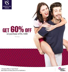 Dress up in style to kill those blues with +American Swan's free #discount #coupon on your transaction on Fastticket.in.  Get this coupon on Movies and Mobile recharge