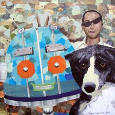 """Photo Bot  12"""" x 12"""", upcycled paper collage on wood panel"""