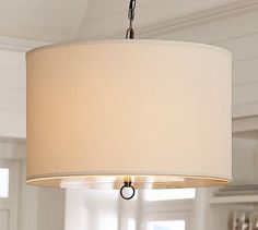 Linen Drum Pendant #potterybarn. Would love to do something like this over the kitchen table.