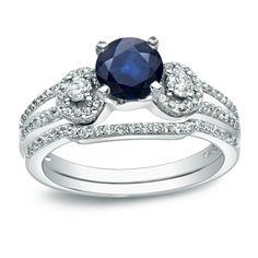 Auriya Platinum 1/2ct Blue Sapphire and 1/2ct TDW Round Cut Diamond Bridal Ring Set