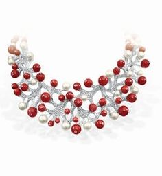 Fred Necklace | pearls, red coral, branches of diamonds
