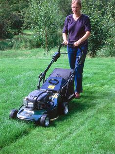 """Mow grass whenever it is growing, provided the ground isn't too wet or icy to walk on. In spring, mow once a week with the blades at their highest setting, and gradually lower them as growth accelerates. Use a box to collect the clippings, which can be composted, or use a """"mulching mower"""" which doesn't remove the grass but chops it into fine pieces, returning nutrients to the lawn. Rake off thick patches of clippings, which will damage the turf."""