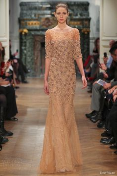 tony ward couture spring summer 2014 half sleeve beaded gown