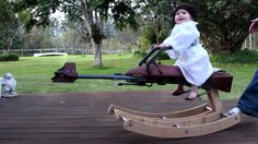 Hand crafted rocking speeder bike (from Star Wars VI Return of the Jedi.) for my daughter's first birthday. See the full Instructable here: http://www.instru...