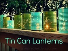 Punched tin cans for lanterns