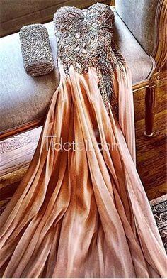 Charming A-line Sweetheart Spaghetti Floor Length Chiffon Prom Dress With Beads