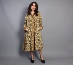 70s LEOPARD Print Swing COAT / Glam Animal by luckyvintageseattle, $85.00