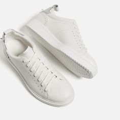 Image 7 of LEATHER DETAIL SNEAKERS from Zara