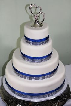 Blue Bedazzled Beauty Imposteur Wedding cake without the floral designed bowl!