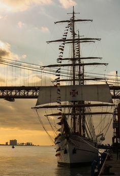 Sagres - tall sails ship in Tagus river, Lisbon Portugal