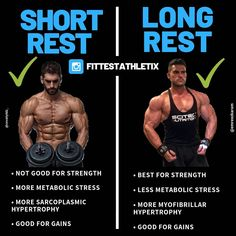 Which way is best to increase growth? Should you ever change the amount of time between sets over time, or stick to one, proven method? Fitness Gym, Muscle Fitness, Gain Muscle, Build Muscle, Muscle Building, Muscle Mass, Gym Workout Tips, Weight Training Workouts, Gym Training
