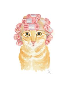 Cat Watercolor  Original Painting Hair Curlers by WaterInMyPaint, $40.00