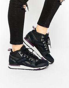 Image 1 ofReebok GL 6000 Mid Black & Purple Trainers