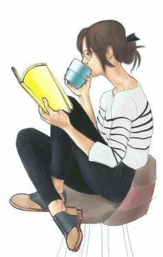 TM Un bon livre et une tasse de café. / Book reading with cup of coffee Reading Art, Woman Reading, Love Reading, Girl Reading Book, Reading Cartoon, Reading Books, I Love Books, Good Books, Books To Read
