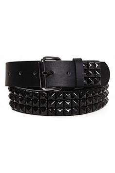 Three Row Black Pyramid Stud Belt by Hot Topic