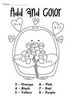 Add and Color and other color by numbers and other fun Valentine's Day stuff