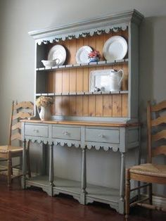 European Paint Finishes Rustic Black Farmhouse Hutch French Country Cottage Buffet