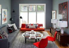 salon moderne en gris et rouge
