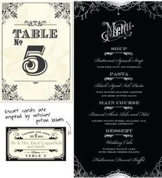 Halloween wedding - table card, menu and escort card